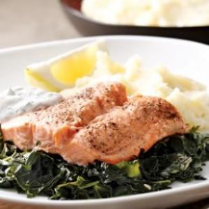 Maybe a bit less salmon and potatoes, but this is a balanced meal!