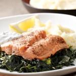 salmon on bed of kale